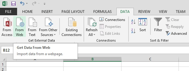 Import into excel from the web.